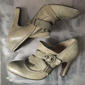 Frye Allie taupe ankle booties with strap details